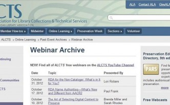ALCTS free technical services webinars